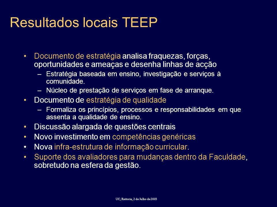 UC, Reitoria, 2 de Julho de 2003 Resultados locais TEEP Documento de estratégia analisa fraquezas, forças, oportunidades e ameaças e desenha linhas de acção –Estratégia baseada em ensino, investigação e serviços à comunidade.