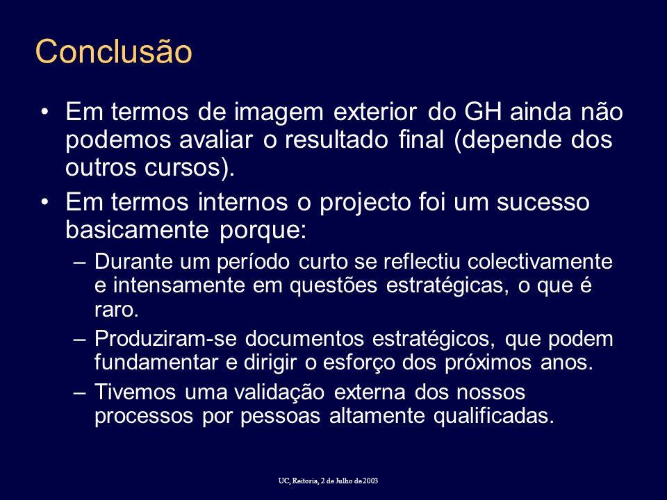 UC, Reitoria, 2 de Julho de 2003 Conclusão Em termos de imagem exterior do GH ainda não podemos avaliar o resultado final (depende dos outros cursos).