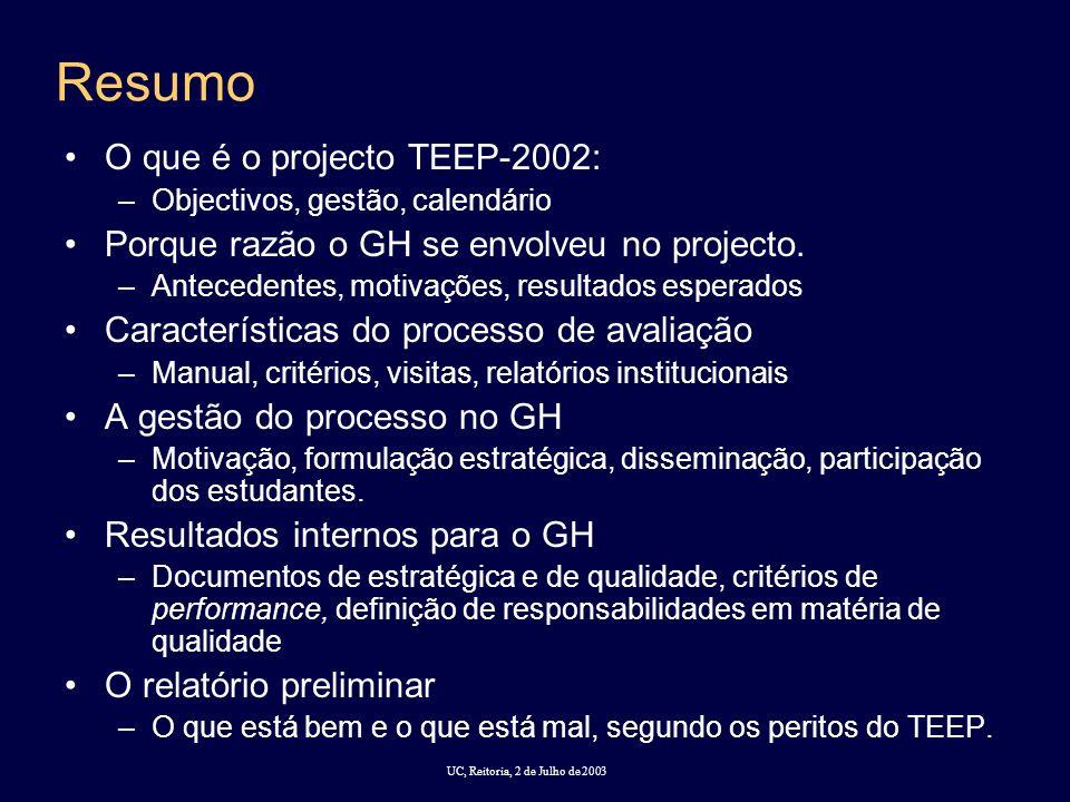 UC, Reitoria, 2 de Julho de 2003 Resumo O que é o projecto TEEP-2002: –Objectivos, gestão, calendário Porque razão o GH se envolveu no projecto.
