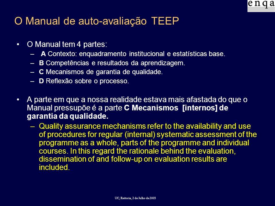 UC, Reitoria, 2 de Julho de 2003 O Manual de auto-avaliação TEEP O Manual tem 4 partes: – A Contexto: enquadramento institucional e estatísticas base.