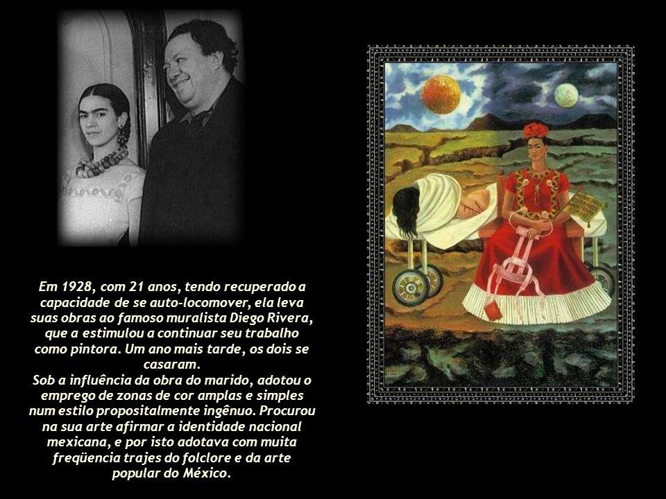 Em 1928, com 21 anos, tendo recuperado a capacidade de se auto-locomover, ela leva suas obras ao famoso muralista Diego Rivera, que a estimulou a continuar seu trabalho como pintora.