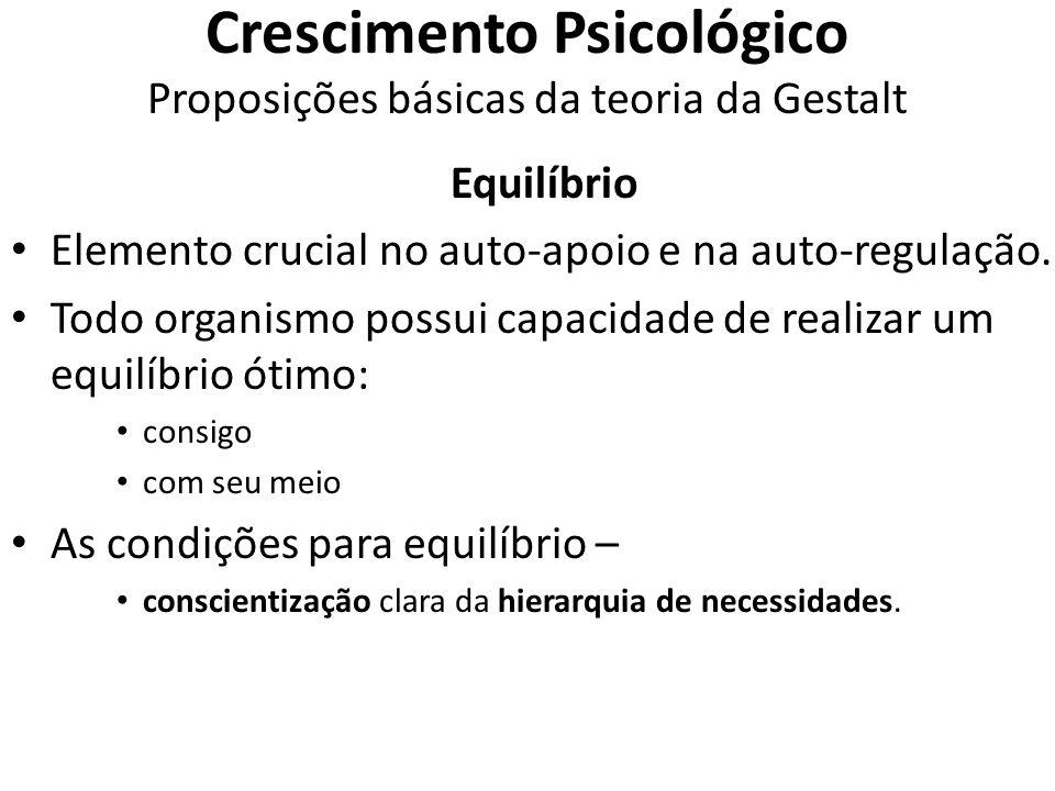 Crescimento Psicológico Proposições básicas da teoria da Gestalt Equilíbrio Elemento crucial no auto-apoio e na auto-regulação. Todo organismo possui