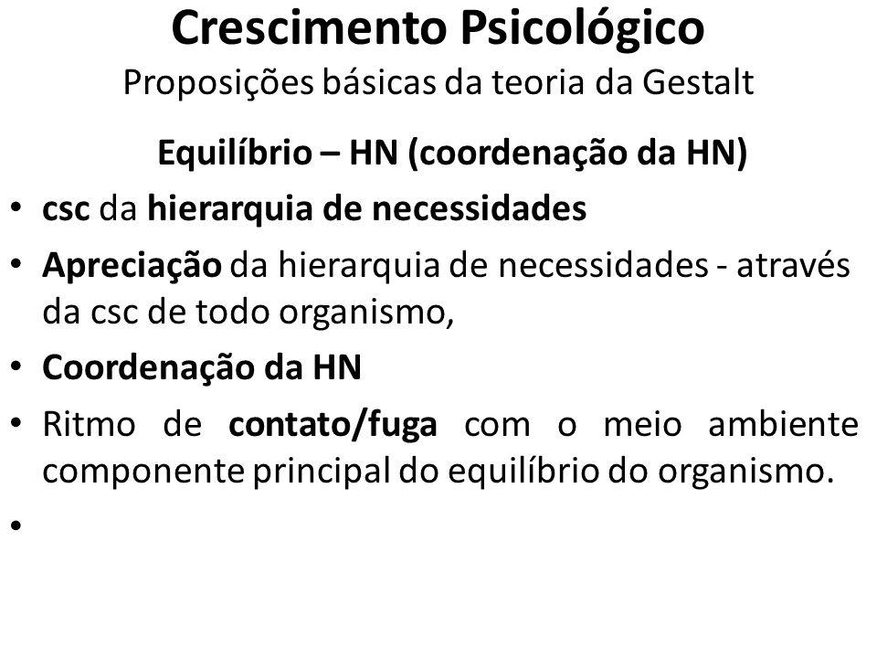 Crescimento Psicológico Proposições básicas da teoria da Gestalt Equilíbrio – HN (coordenação da HN) csc da hierarquia de necessidades Apreciação da h