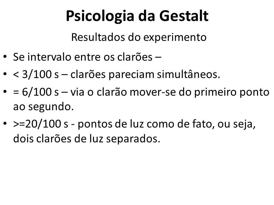 Psicologia da Gestalt Resultados do experimento Se intervalo entre os clarões – < 3/100 s – clarões pareciam simultâneos. = 6/100 s – via o clarão mov