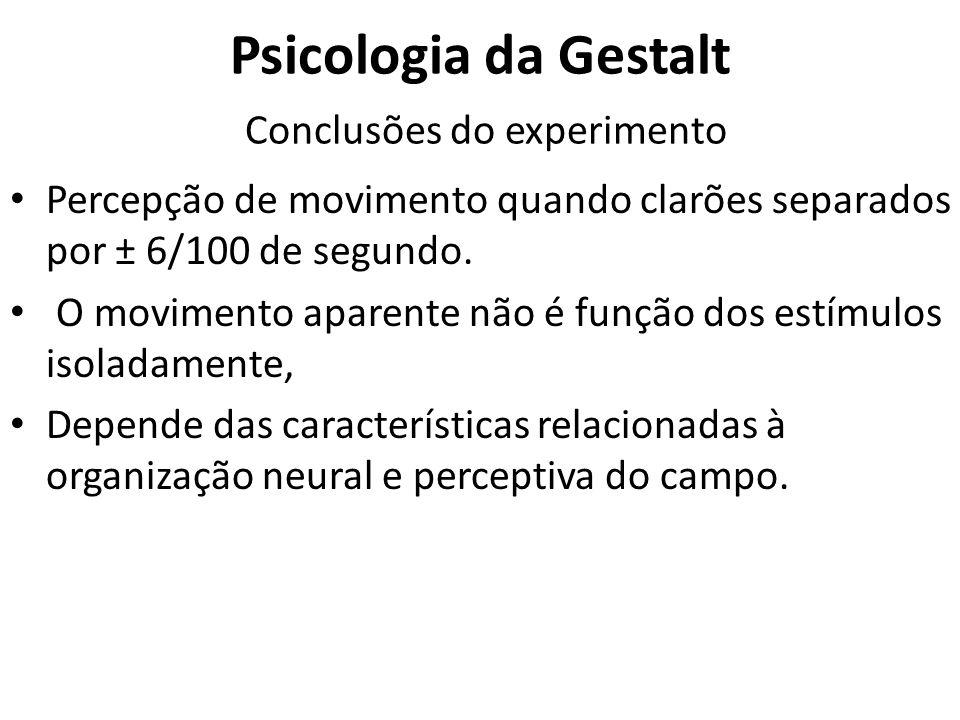 Psicologia da Gestalt Conclusões do experimento Percepção de movimento quando clarões separados por ± 6/100 de segundo. O movimento aparente não é fun