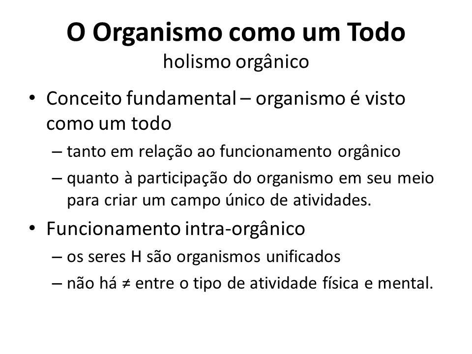 O Organismo como um Todo holismo orgânico Conceito fundamental – organismo é visto como um todo – tanto em relação ao funcionamento orgânico – quanto