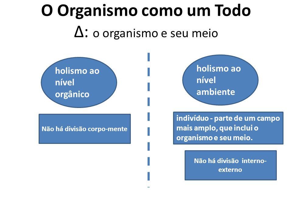 O Organismo como um Todo Δ: o organismo e seu meio holismo ao nível orgânico holismo ao nível ambiente Não há divisão interno- externo indivíduo - par