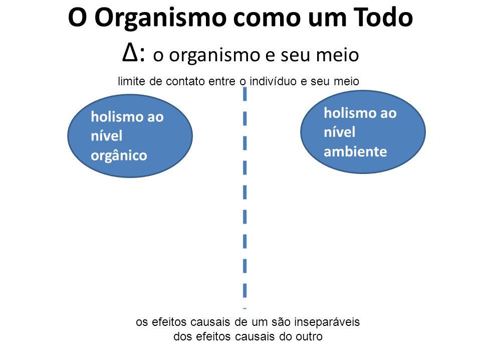 O Organismo como um Todo Δ: o organismo e seu meio holismo ao nível orgânico holismo ao nível ambiente os efeitos causais de um são inseparáveis dos e