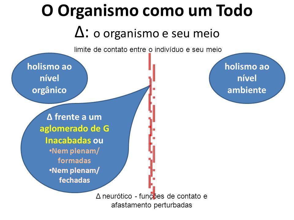 O Organismo como um Todo Δ: o organismo e seu meio holismo ao nível orgânico holismo ao nível ambiente limite de contato entre o indivíduo e seu meio