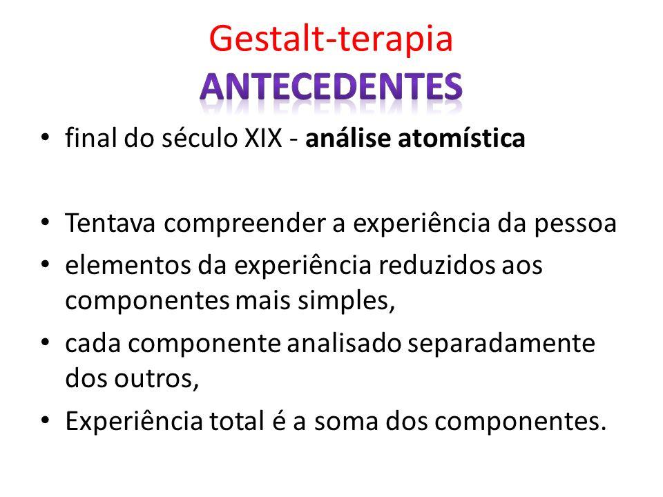 final do século XIX - análise atomística Tentava compreender a experiência da pessoa elementos da experiência reduzidos aos componentes mais simples,