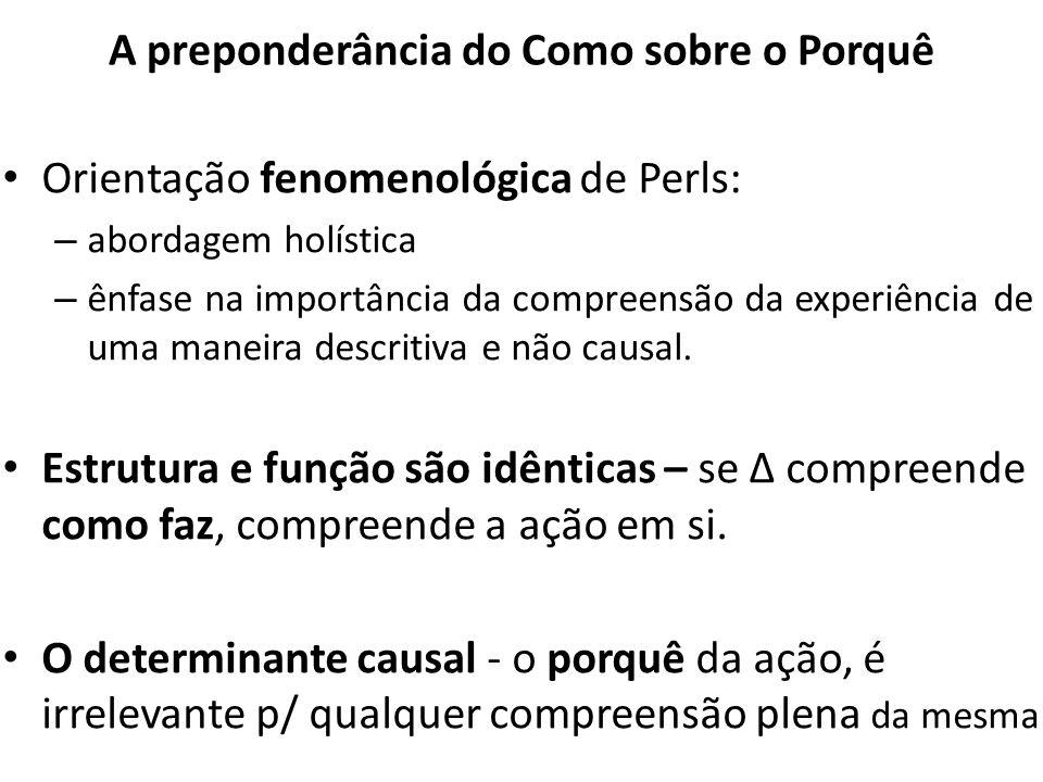 A preponderância do Como sobre o Porquê Orientação fenomenológica de Perls: – abordagem holística – ênfase na importância da compreensão da experiênci