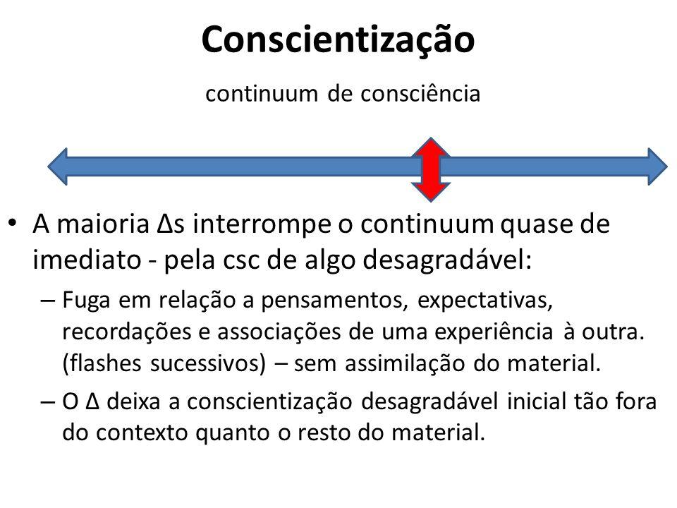 Conscientização continuum de consciência A maioria Δs interrompe o continuum quase de imediato - pela csc de algo desagradável: – Fuga em relação a pe
