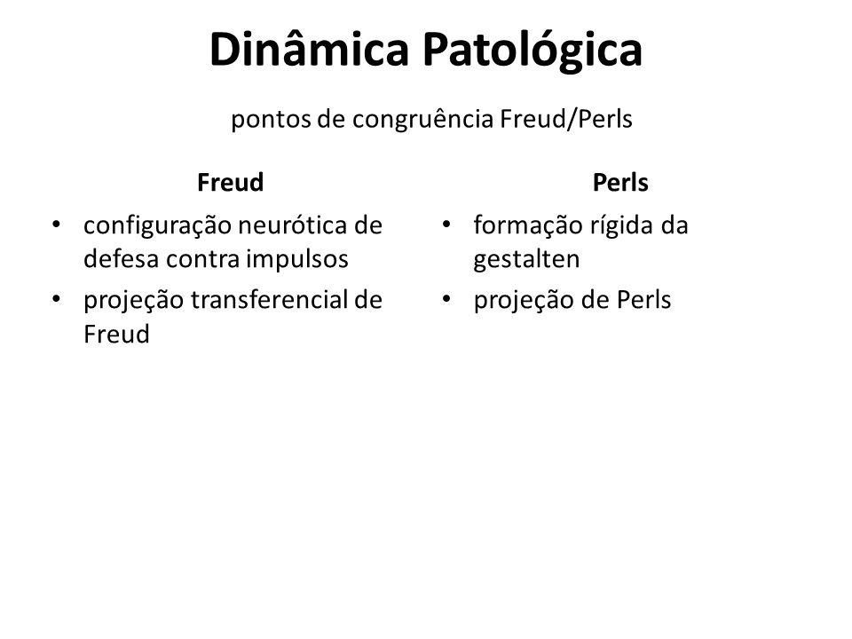 Dinâmica Patológica pontos de congruência Freud/Perls Freud configuração neurótica de defesa contra impulsos projeção transferencial de Freud Perls fo