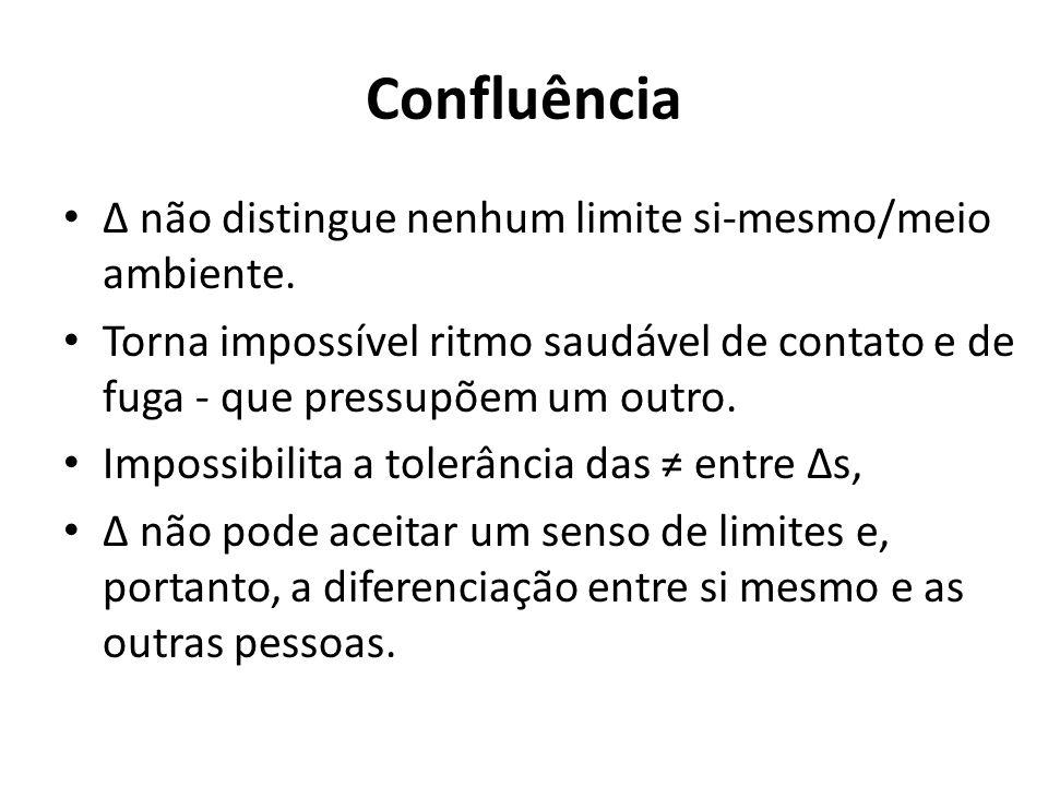 Confluência Δ não distingue nenhum limite si-mesmo/meio ambiente. Torna impossível ritmo saudável de contato e de fuga - que pressupõem um outro. Impo