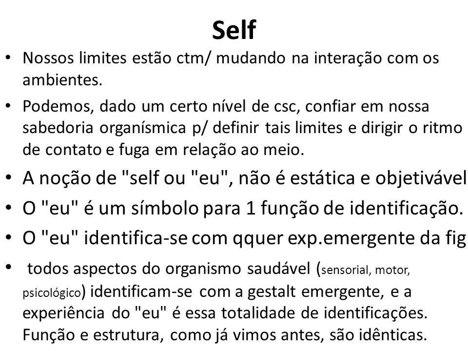 Self Nossos limites estão ctm/ mudando na interação com os ambientes. Podemos, dado um certo nível de csc, confiar em nossa sabedoria organísmica p/ d