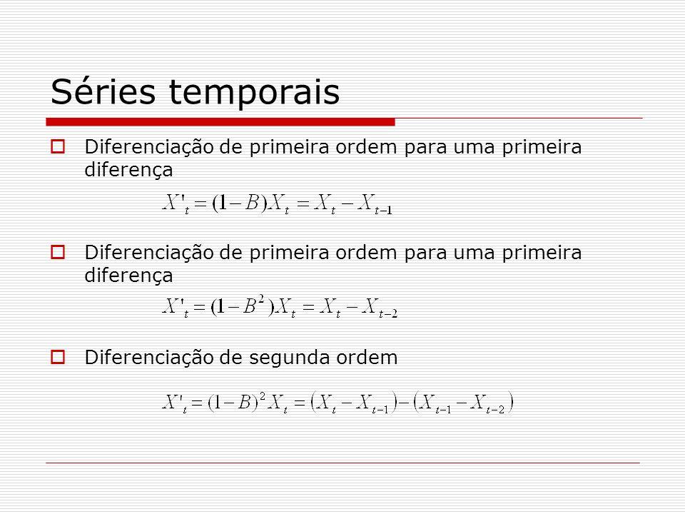Séries temporais Diferenciação de primeira ordem para uma primeira diferença Diferenciação de segunda ordem