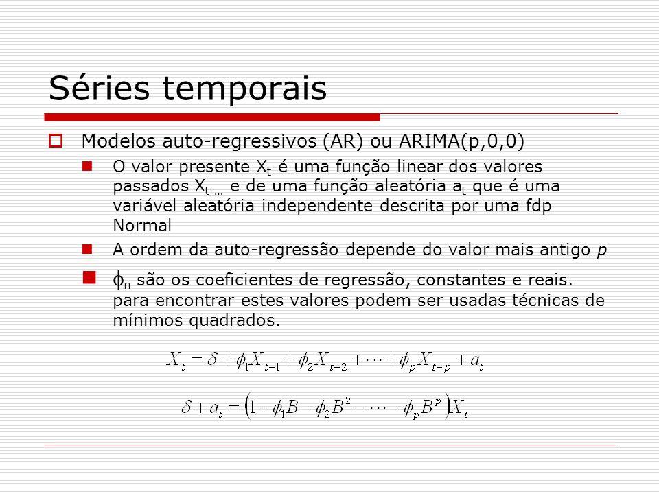 Séries temporais Modelos auto-regressivos (AR) ou ARIMA(p,0,0) O valor presente X t é uma função linear dos valores passados X t-… e de uma função aleatória a t que é uma variável aleatória independente descrita por uma fdp Normal A ordem da auto-regressão depende do valor mais antigo p n são os coeficientes de regressão, constantes e reais.