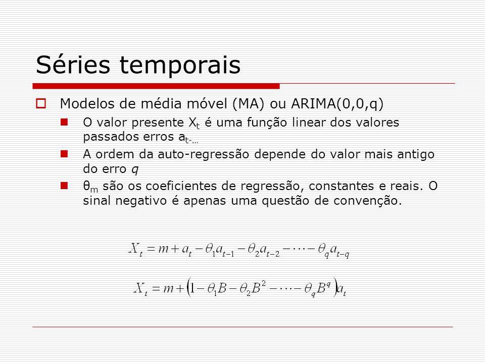Séries temporais Modelos de média móvel (MA) ou ARIMA(0,0,q) O valor presente X t é uma função linear dos valores passados erros a t-… A ordem da auto-regressão depende do valor mais antigo do erro q θ m são os coeficientes de regressão, constantes e reais.