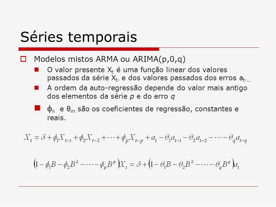 Séries temporais Modelos mistos ARMA ou ARIMA(p,0,q) O valor presente X t é uma função linear dos valores passados da série X t- e dos valores passados dos erros a t-… A ordem da auto-regressão depende do valor mais antigo dos elementos da série p e do erro q n e θ m são os coeficientes de regressão, constantes e reais.
