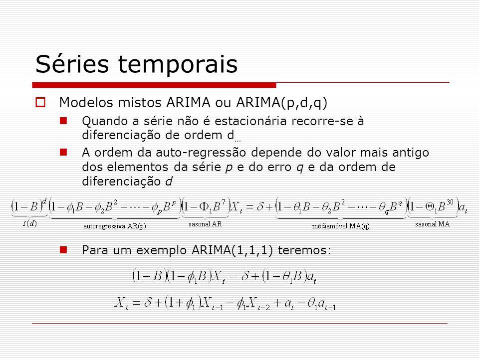 Séries temporais Modelos mistos ARIMA ou ARIMA(p,d,q) Quando a série não é estacionária recorre-se à diferenciação de ordem d … A ordem da auto-regressão depende do valor mais antigo dos elementos da série p e do erro q e da ordem de diferenciação d Para um exemplo ARIMA(1,1,1) teremos: