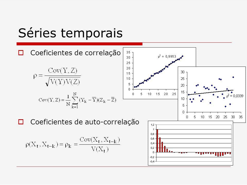 Séries temporais Coeficientes de correlação Coeficientes de auto-correlação