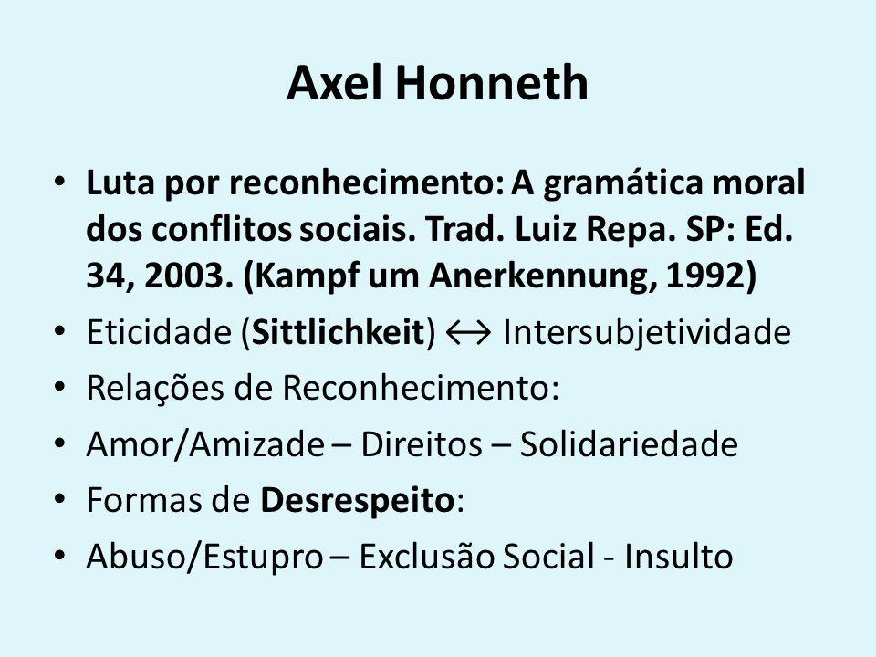 Axel Honneth Luta por reconhecimento: A gramática moral dos conflitos sociais.