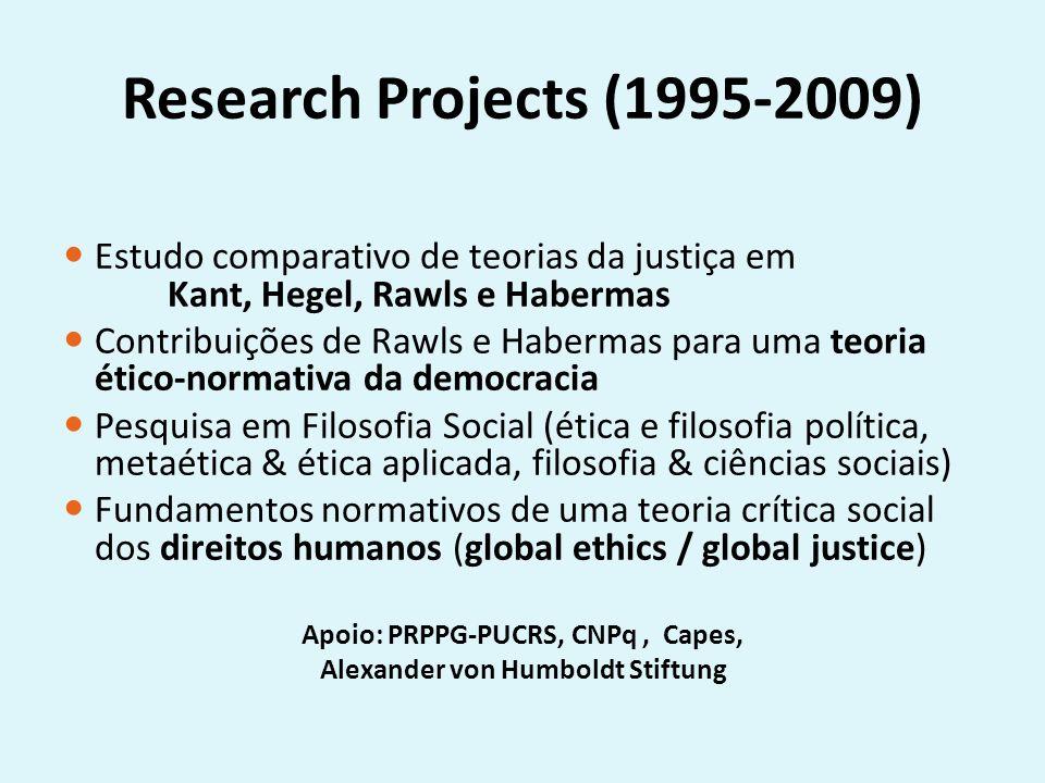 Research Projects (1995-2009) Estudo comparativo de teorias da justiça em Kant, Hegel, Rawls e Habermas Contribuições de Rawls e Habermas para uma teoria ético-normativa da democracia Pesquisa em Filosofia Social (ética e filosofia política, metaética & ética aplicada, filosofia & ciências sociais) Fundamentos normativos de uma teoria crítica social dos direitos humanos (global ethics / global justice) Apoio: PRPPG-PUCRS, CNPq, Capes, Alexander von Humboldt Stiftung