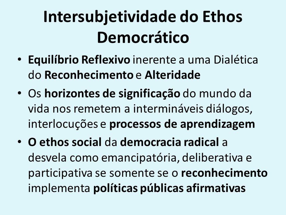 Intersubjetividade do Ethos Democrático Equilíbrio Reflexivo inerente a uma Dialética do Reconhecimento e Alteridade Os horizontes de significação do mundo da vida nos remetem a intermináveis diálogos, interlocuções e processos de aprendizagem O ethos social da democracia radical a desvela como emancipatória, deliberativa e participativa se somente se o reconhecimento implementa políticas públicas afirmativas