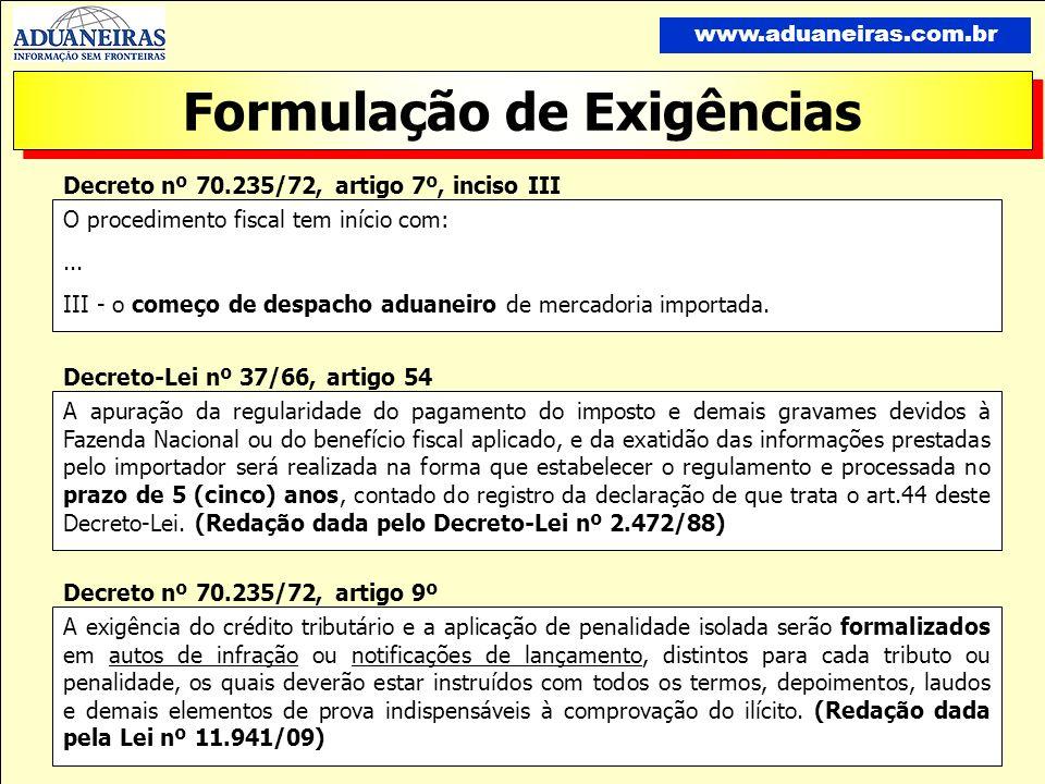Formulação de Exigências www.aduaneiras.com.br O procedimento fiscal tem início com:...