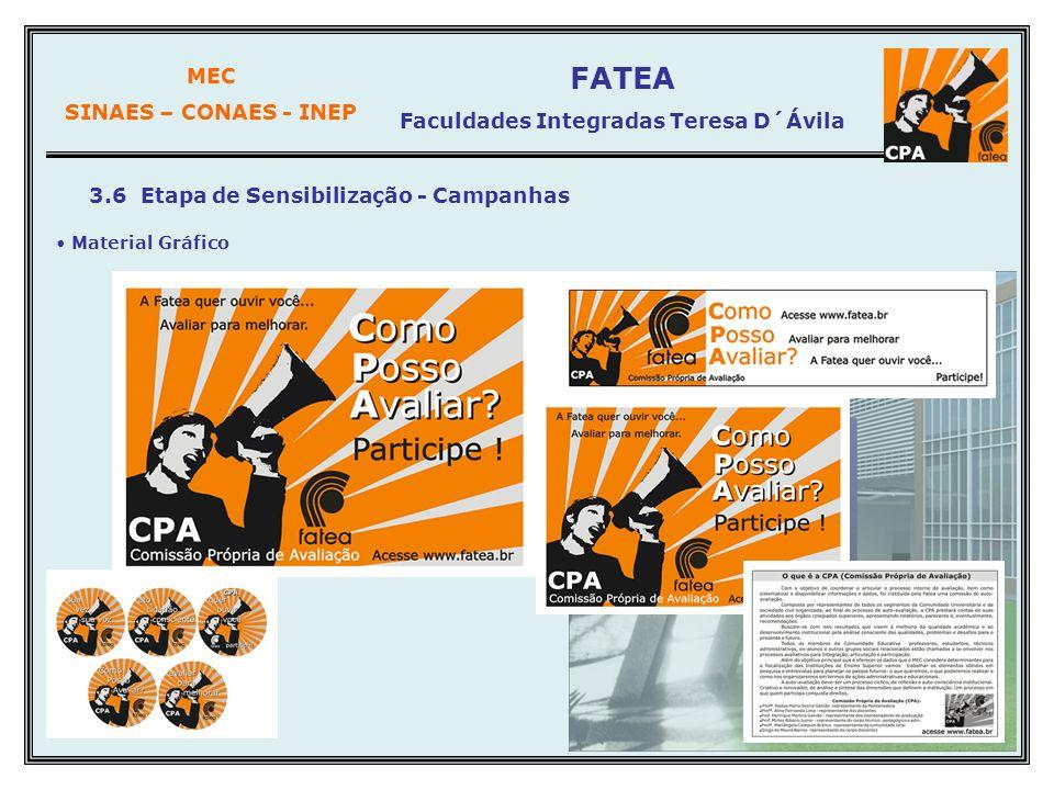 MEC SINAES – CONAES - INEP FATEA Faculdades Integradas Teresa D´Ávila 3.6 Etapa de Sensibilização - Campanhas Material Gráfico