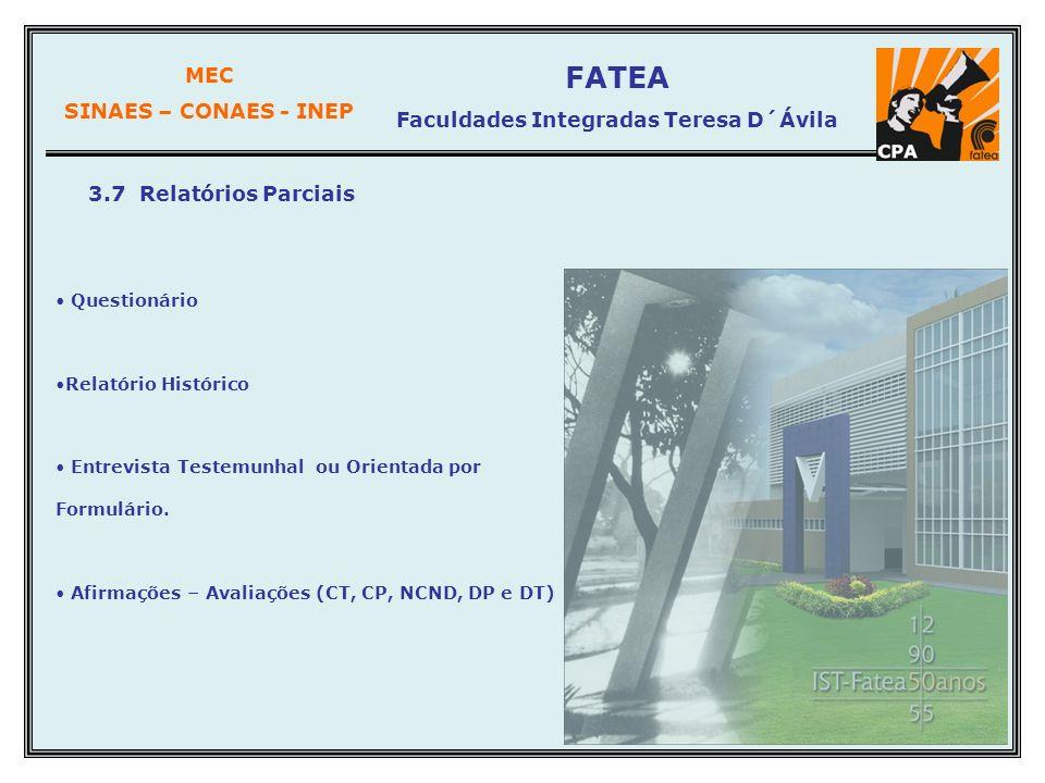 MEC SINAES – CONAES - INEP FATEA Faculdades Integradas Teresa D´Ávila 3.7 Relatórios Parciais Questionário Relatório Histórico Entrevista Testemunhal