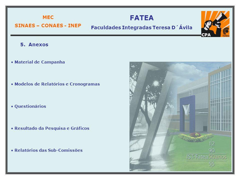 MEC SINAES – CONAES - INEP FATEA Faculdades Integradas Teresa D´Ávila 5. Anexos Material de Campanha Modelos de Relatórios e Cronogramas Questionários