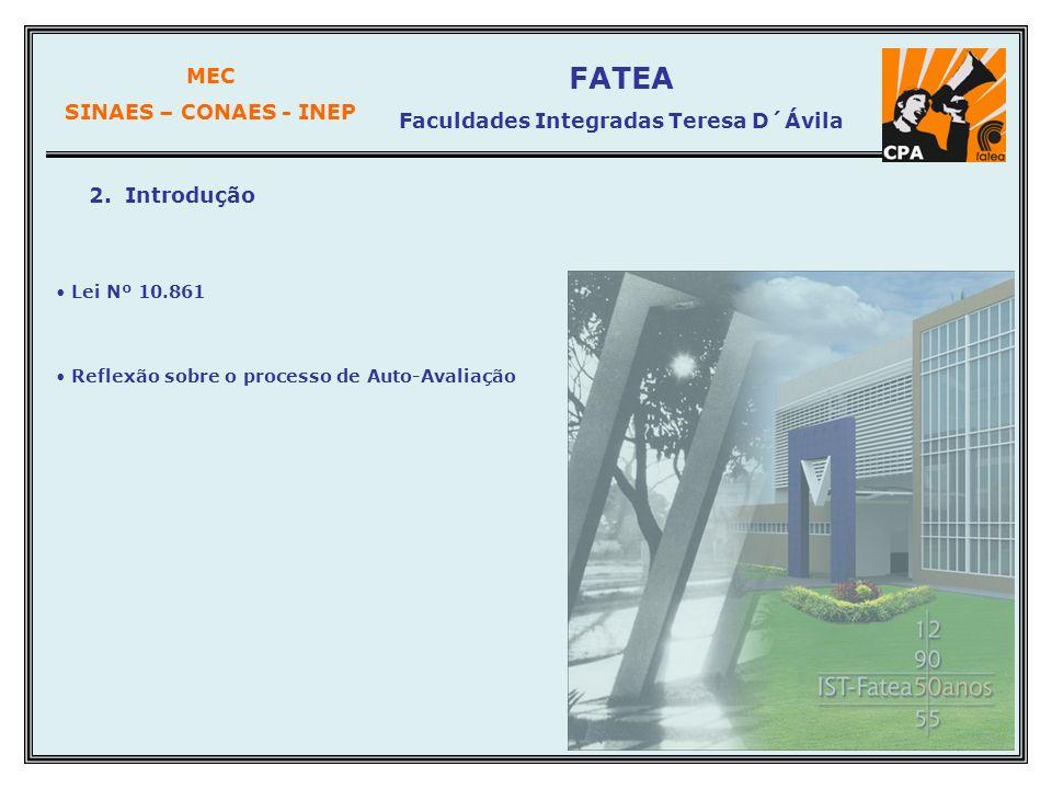 MEC SINAES – CONAES - INEP FATEA Faculdades Integradas Teresa D´Ávila 2. Introdução Lei Nº 10.861 Reflexão sobre o processo de Auto-Avaliação