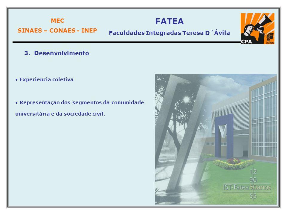 MEC SINAES – CONAES - INEP FATEA Faculdades Integradas Teresa D´Ávila 3. Desenvolvimento Experiência coletiva Representação dos segmentos da comunidad