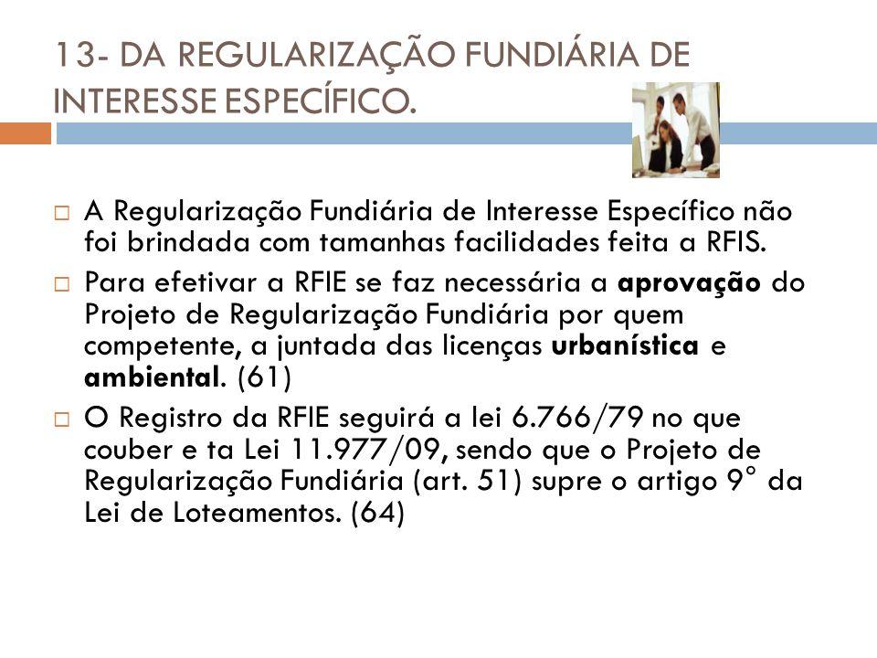 13- DA REGULARIZAÇÃO FUNDIÁRIA DE INTERESSE ESPECÍFICO. A Regularização Fundiária de Interesse Específico não foi brindada com tamanhas facilidades fe