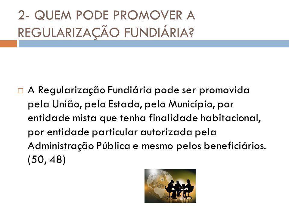 2- QUEM PODE PROMOVER A REGULARIZAÇÃO FUNDIÁRIA? A Regularização Fundiária pode ser promovida pela União, pelo Estado, pelo Município, por entidade mi