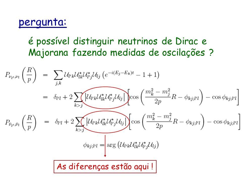 pergunta: é possível distinguir neutrinos de Dirac e Majorana fazendo medidas de oscilações .