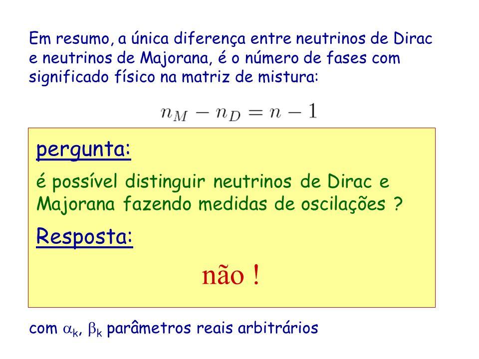 Em resumo, a única diferença entre neutrinos de Dirac e neutrinos de Majorana, é o número de fases com significado físico na matriz de mistura: Porém, é obvio que expressões do tipo não mudam por transformações da forma com k, k parâmetros reais arbitrários é possível distinguir neutrinos de Dirac e Majorana fazendo medidas de oscilações .