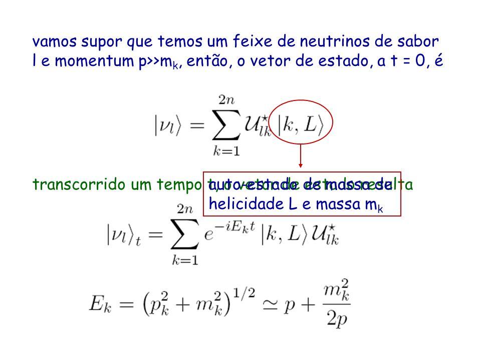 vamos supor que temos um feixe de neutrinos de sabor l e momentum p>>m k, então, o vetor de estado, a t = 0, é transcorrido um tempo t, o vetor de estado resulta auto-estado de massa de helicidade L e massa m k