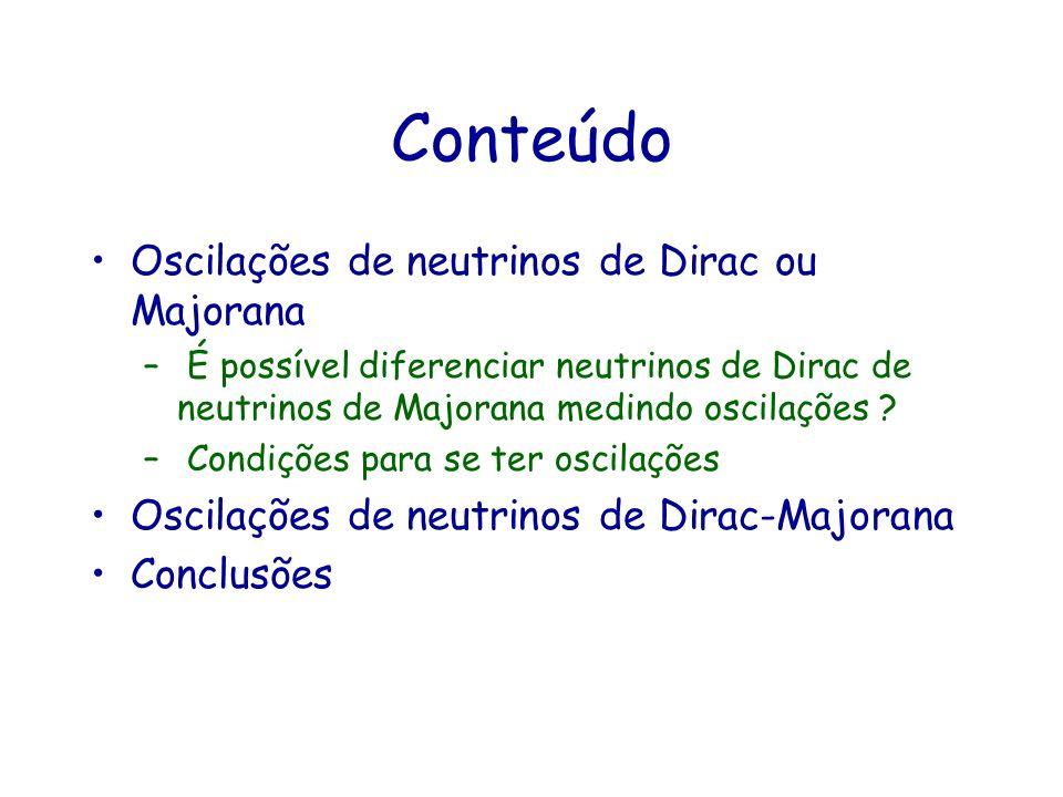 Conteúdo Oscilações de neutrinos de Dirac ou Majorana – É possível diferenciar neutrinos de Dirac de neutrinos de Majorana medindo oscilações ? – Cond