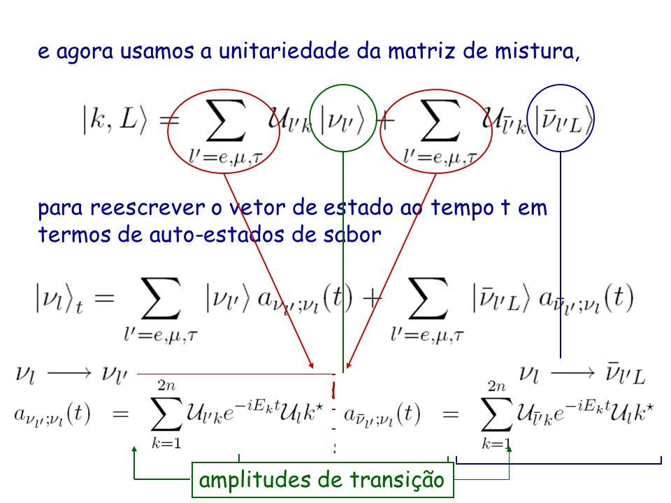 e agora usamos a unitariedade da matriz de mistura, para reescrever o vetor de estado ao tempo t em termos de auto-estados de sabor somas sobre índice