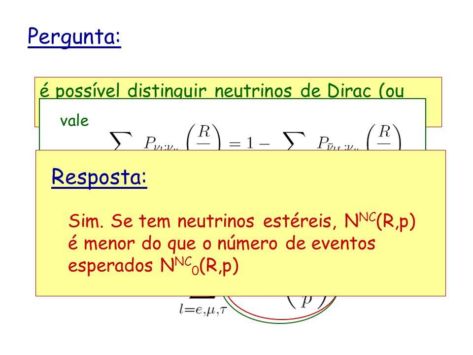 Pergunta: é possível distinguir neutrinos de Dirac (ou Majorana) de neutrinos de Dirac-Majorana ? Considere um experimento onde neutrinos são detectad