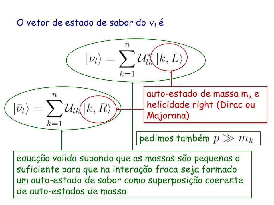 O vetor de estado de sabor do l é auto-estado de massa m k e helicidade left (Dirac ou Majorana) equação valida supondo que as massas são pequenas o suficiente para que na interação fraca seja formado um auto-estado de sabor como superposição coerente de auto-estados de massa auto-estado de massa m k e helicidade right (Dirac ou Majorana) pedimos também