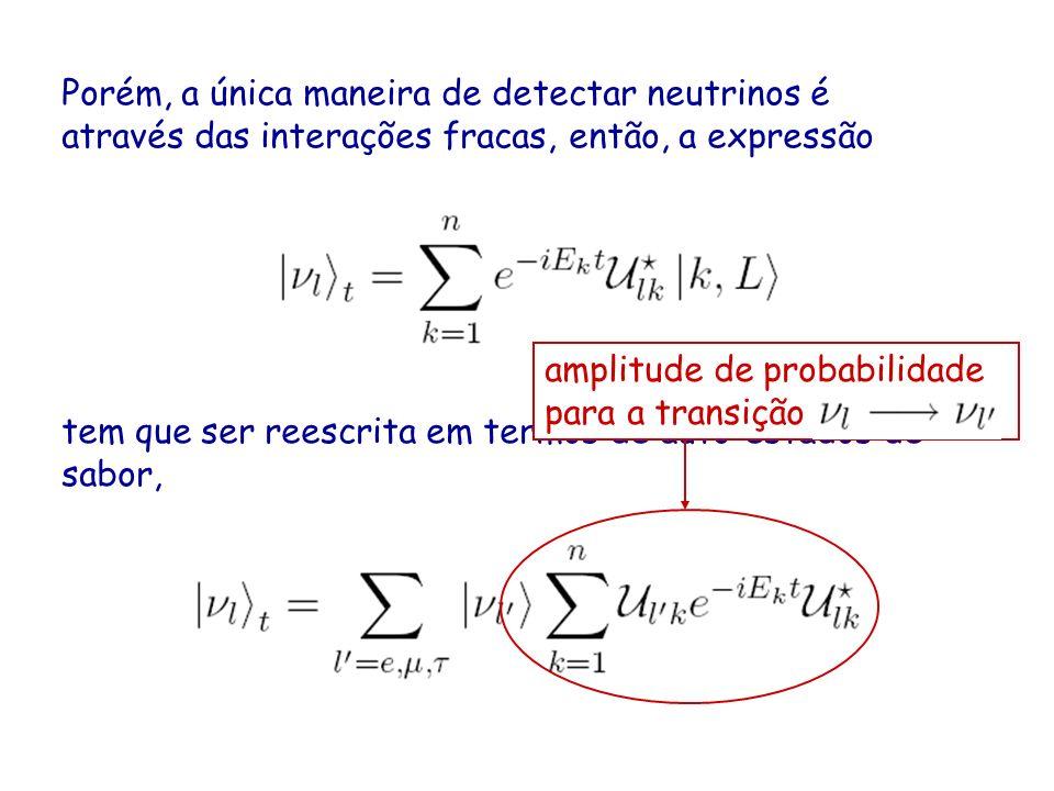 Porém, a única maneira de detectar neutrinos é através das interações fracas, então, a expressão tem que ser reescrita em termos de auto-estados de sabor, amplitude de probabilidade para a transição