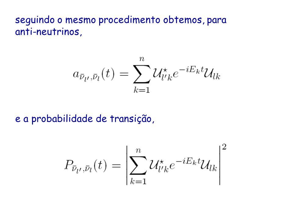 seguindo o mesmo procedimento obtemos, para anti-neutrinos, e a probabilidade de transição,