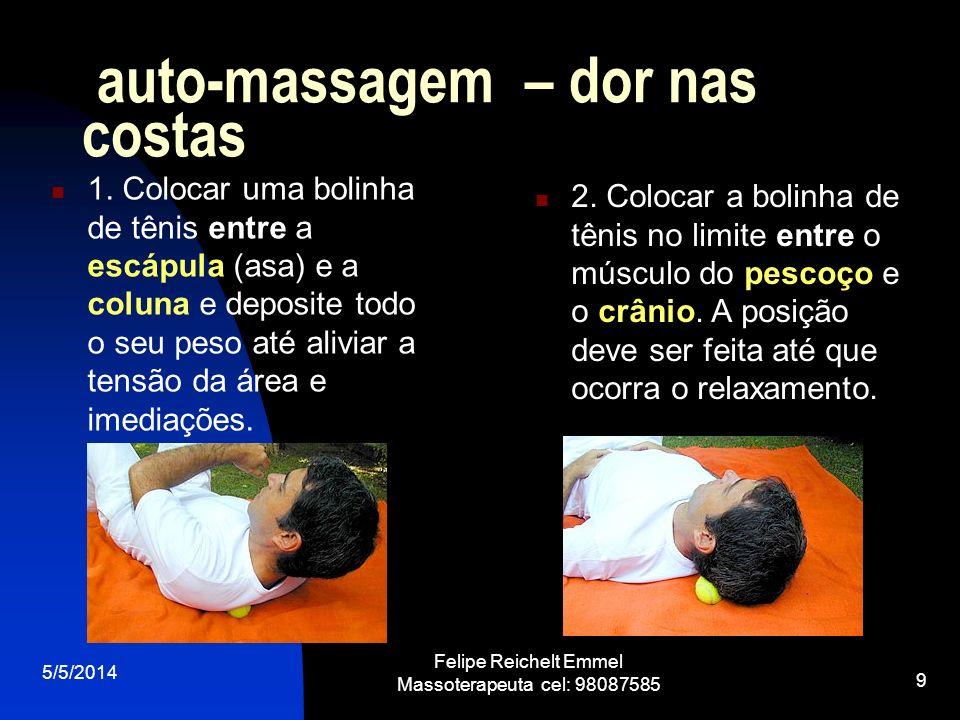 5/5/2014 Felipe Reichelt Emmel Massoterapeuta cel: 98087585 9 auto-massagem – dor nas costas 1. Colocar uma bolinha de tênis entre a escápula (asa) e
