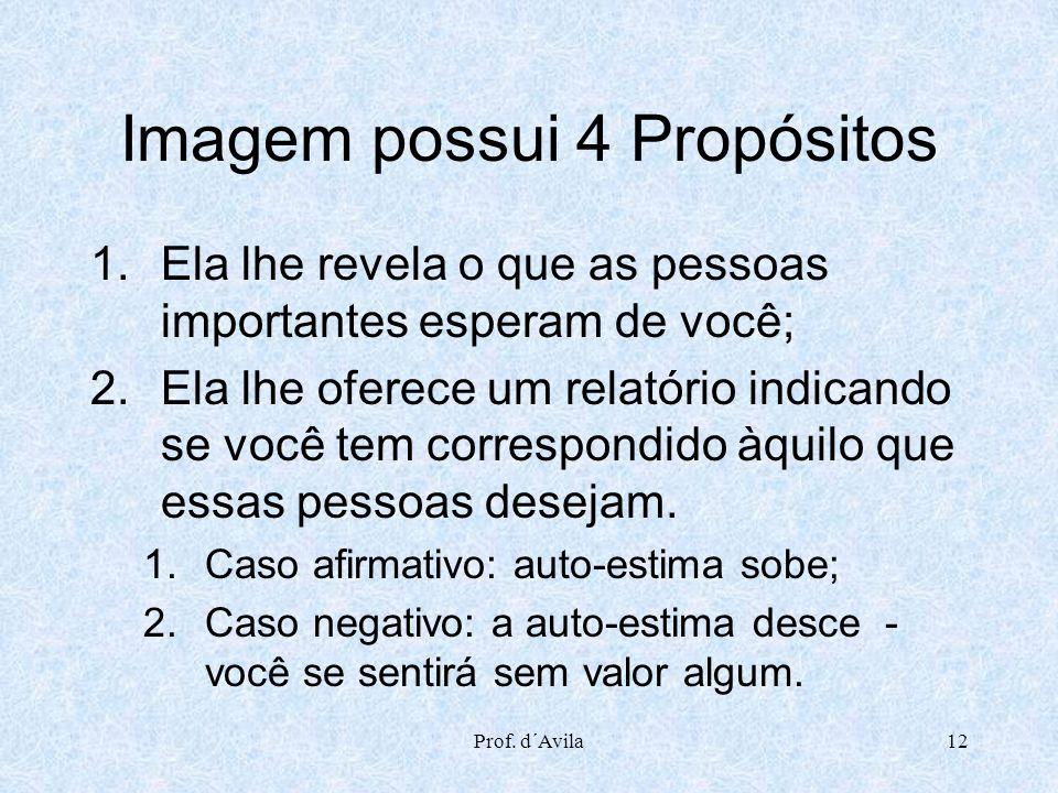 Prof. d´Avila12 Imagem possui 4 Propósitos 1.Ela lhe revela o que as pessoas importantes esperam de você; 2.Ela lhe oferece um relatório indicando se