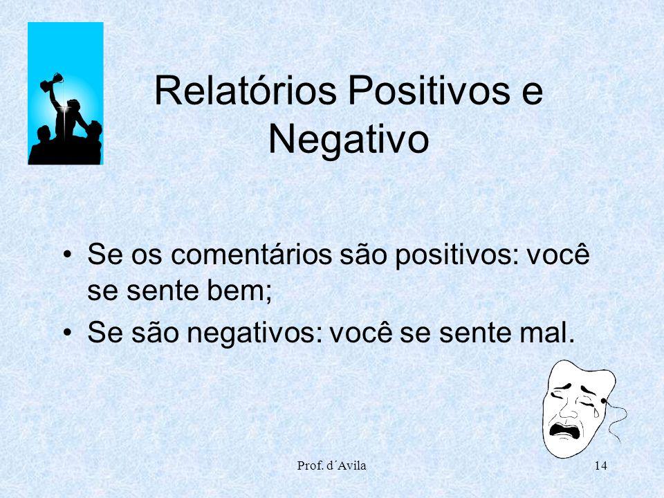 Prof. d´Avila14 Relatórios Positivos e Negativo Se os comentários são positivos: você se sente bem; Se são negativos: você se sente mal.