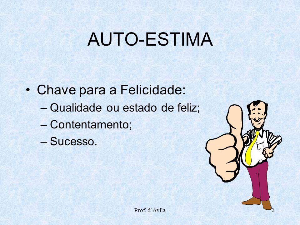 Prof. d´Avila2 AUTO-ESTIMA Chave para a Felicidade: –Qualidade ou estado de feliz; –Contentamento; –Sucesso.