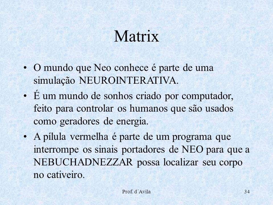 Prof. d´Avila34 Matrix O mundo que Neo conhece é parte de uma simulação NEUROINTERATIVA. É um mundo de sonhos criado por computador, feito para contro
